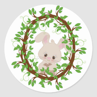 Rabbit , bunny, WOODLAND-CRITTERS Round Sticker