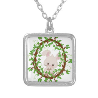 Rabbit , bunny, WOODLAND-CRITTERS Silver Plated Necklace