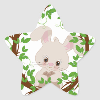 Rabbit , bunny, WOODLAND-CRITTERS Star Sticker