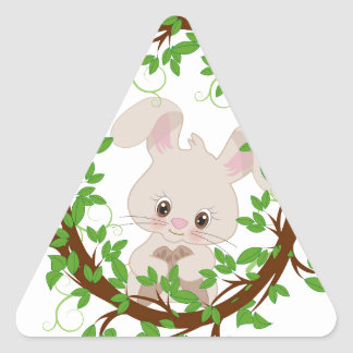 Rabbit , bunny, WOODLAND-CRITTERS Triangle Sticker