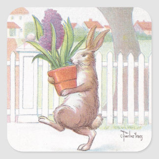 Rabbit Carrying Potted Purple Hyacinth Square Sticker