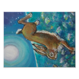 Rabbit chasing fireflies poster
