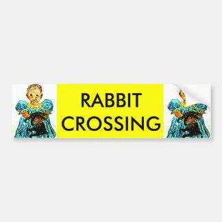 RABBIT CROSSING CAR BUMPER STICKER