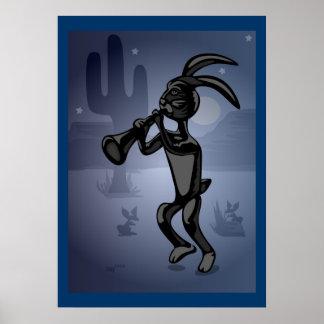 Rabbit Dance Kokopelli Poster