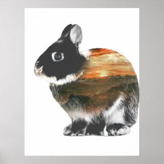 Rabbit Double Exposure Poster