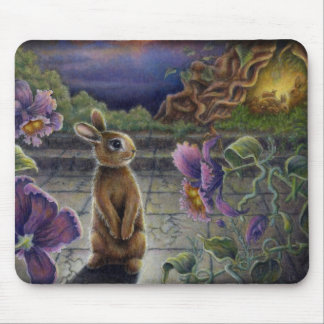 Rabbit Dreams Mousepad Fantasy Flowers Bunnies