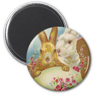 Rabbit Easter Greetings Vintage 2 Inch Round Magnet