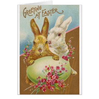 Rabbit Easter Greetings Vintage Greeting Card