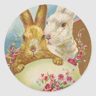 Rabbit Easter Greetings Vintage Round Sticker
