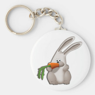 Rabbit Eating A Carrot Keychain