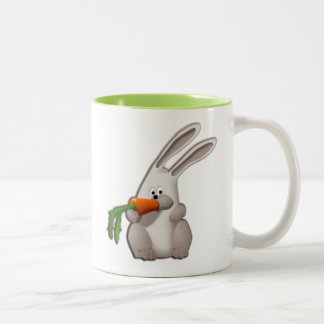 Rabbit Eating A Carrot Two-Tone Coffee Mug