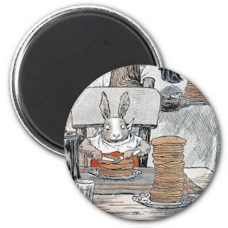 Rabbit Eating Pancake Breakfast 2 Inch Round Magnet