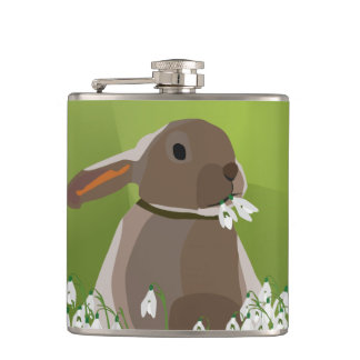 Rabbit eating snowdrops flask