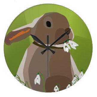 Rabbit eating snowdrops wallclocks