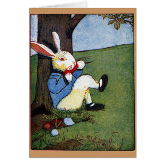Rabbit Eating Veggies Under Tree Greeting Cards