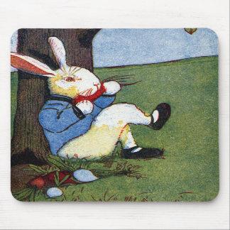 Rabbit Eating Veggies Under Tree Mouse Pad