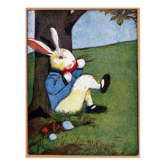Rabbit Eating Veggies Under Tree Postcards