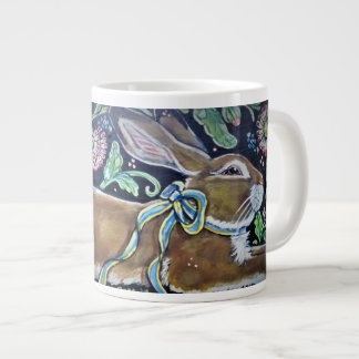 Rabbit & Floral Tapestry Folk Art Design Jumbo Mug
