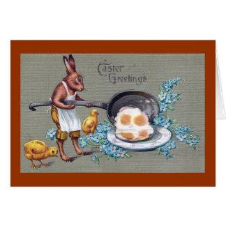Rabbit Frying Eggs Vintage Easter Card