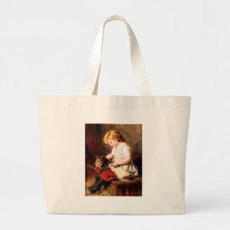 Rabbit Girl Feeding Pet Bunny Painting Bag