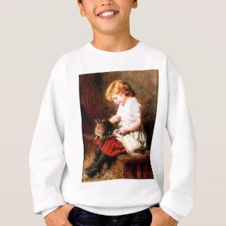 Rabbit Girl Feeding Pet Bunny Painting Sweatshirt