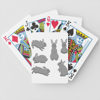 Rabbit grey bicycle playing cards