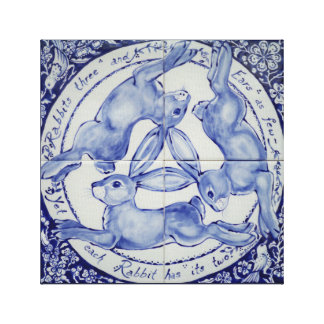 Rabbit Hare Bird Tile Medallion Art Blue & White Canvas Print