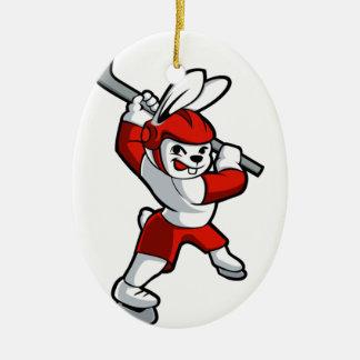 rabbit hockey cartoon ceramic oval ornament