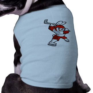 rabbit hockey cartoon doggie tee shirt