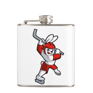 rabbit hockey cartoon hip flask