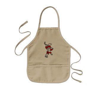 rabbit hockey cartoon kids apron