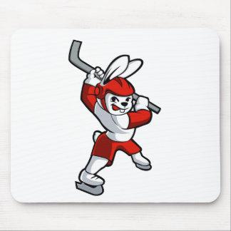 rabbit hockey cartoon mouse pad