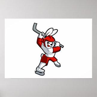 rabbit hockey cartoon poster