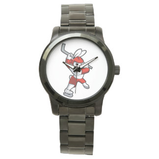 rabbit hockey cartoon wrist watches