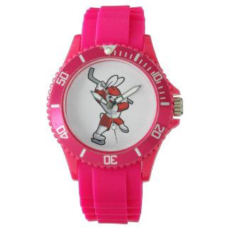 rabbit hockey cartoon wristwatch