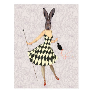 Rabbit in Black White Dress 2 Postcard
