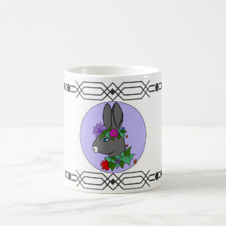 Rabbit in flowers. coffee mug