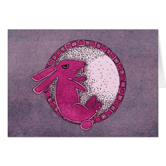 Rabbit in the Moon (pink/purple) Card