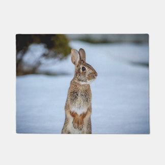 Rabbit in the snow doormat