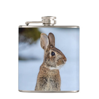 Rabbit in the snow hip flask