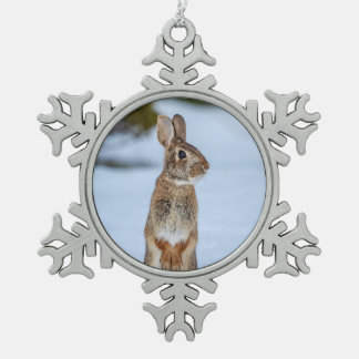 Rabbit in the snow pewter snowflake ornament
