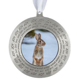 Rabbit in the snow round pewter ornament