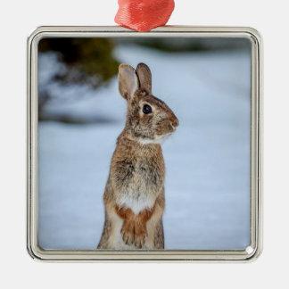 Rabbit in the snow Silver-Colored square ornament