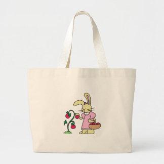 Rabbit in Tomato Garden Large Tote Bag