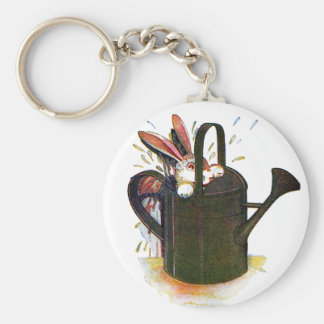 Rabbit in Watering Can Basic Round Button Keychain