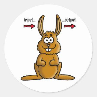 Rabbit input output classic round sticker