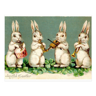 Rabbit music band antique Easter greetings Postcard