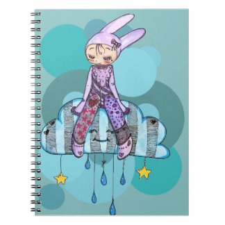 Rabbit on clouds Anteckningsblock Notebook