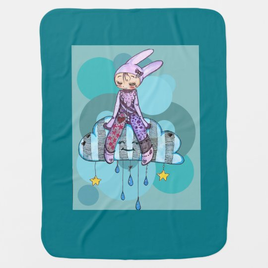 Rabbit on clouds baby blanket