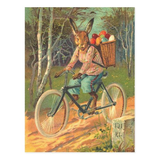 Rabbit on his bicycle delivering eggs ! post cards